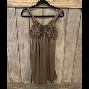 Jeweled brown baby doll dress